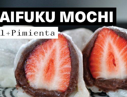 Receta Daifuku Mochi, relleno de Anko y Fresa